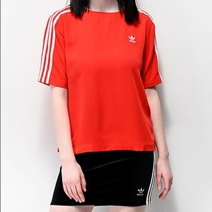 adidas 3 Stripes Red Top